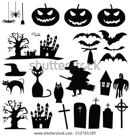 vector collection of halloween silhouettes