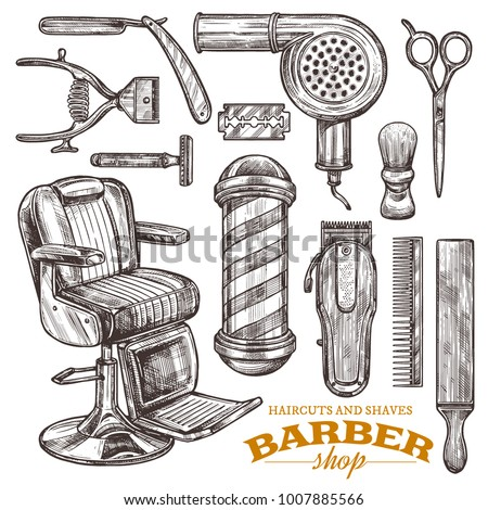 Vector collection of hand drawn barbershop tools and accessories in engraving style. Sketch vintage illustration of shaving and hairdresser equipments: razor, comb, scissors, barber shop pole, brush