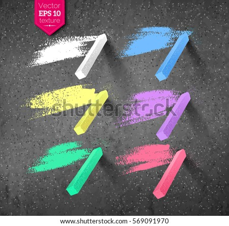 Vector collection of hand drawn strokes and pieces of colored chalks with shadow isolated on asphalt texture background.