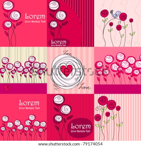 Vector collection of hand drawn style beautiful floral romantic backgrounds