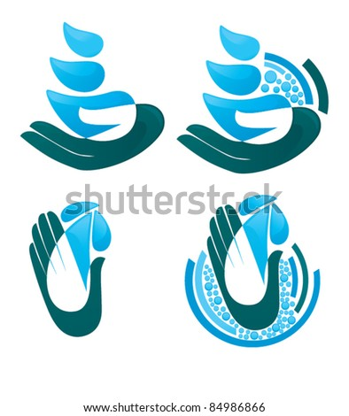 vector collection of hands, water drops and water molecule