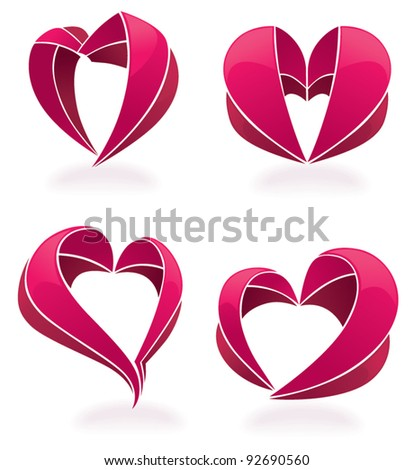 vector collection of hearts made from tape and ribbon