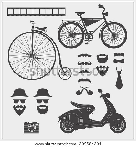 vector collection of hipster