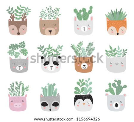 Vector collection of house plants in funny animal pots. Adorable objects on background, pastel colors. Valentine's day, anniversary, baby shower, birthday