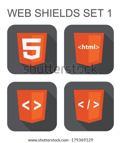 vector collection of html web development shield signs: html5, tag, brackets. isolated icons on white background