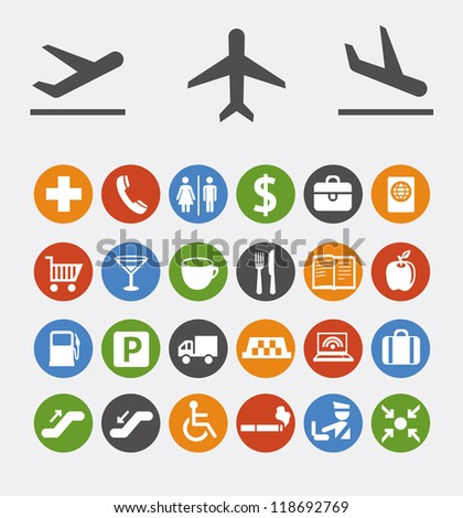 Vector collection of icons and pointers for navigation in airport