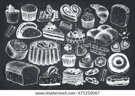 Vector collection of ink hand drawn baking illustrations. Vintage set of bread and pastries sketch. Bakery or bakehouse menu design on chalkboard