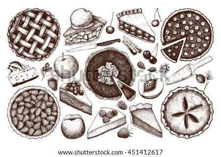 Vector collection of ink hand drawn fruit and berry baking illustration. Vintage set of traditional cake, tart and pie sketch. Sweet  bakery. Top view.