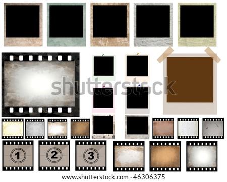 vector collection of isolated film strip and instant photo frames - check for more