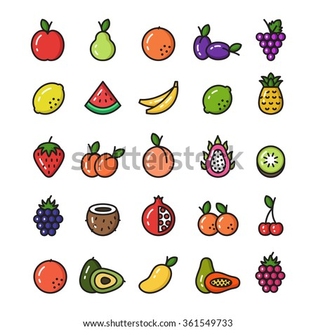 Vector Collection Of Isolated Fruit Line Icons