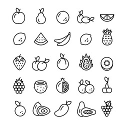 Vector Collection of Isolated Fruit Outline Icons