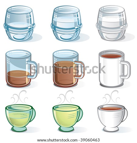 Vector Collection of isolated half-full or half-empty Cups and Glasses  .