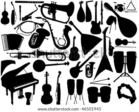 vector collection of isolated musical instruments - stock vector