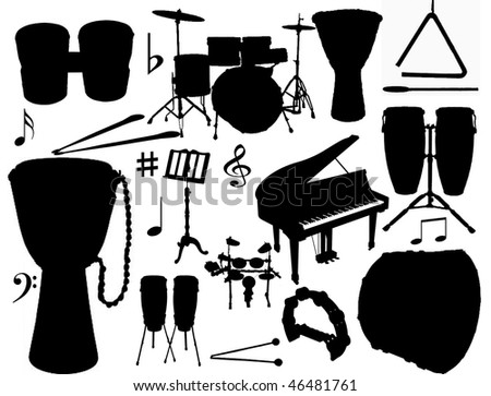 vector collection of isolated percussion instruments