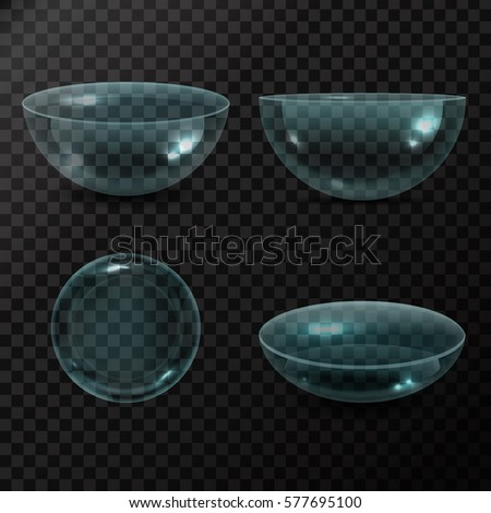 Vector collection of isolated realistic eye contacts lenses on the transparent background.