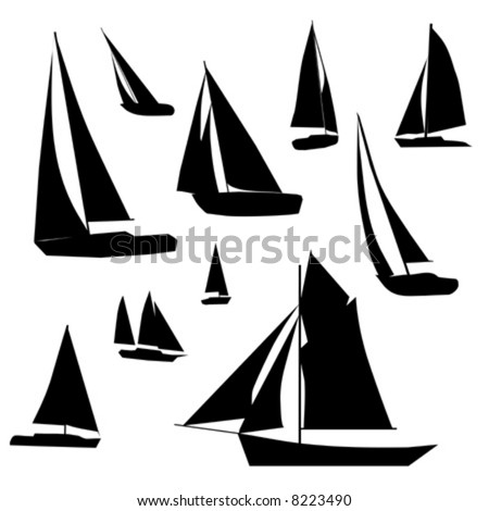 Vector collection of isolated Sailboat silhouette designs.