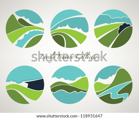 vector collection of landscape and nature symbols in old style