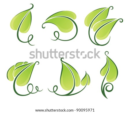 vector collection of leaves plants and nature elements