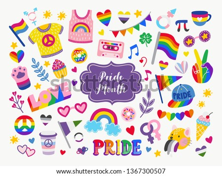 Vector collection of LGBTQ community symbols with pride flags, gender signs, rainbow colored sweet food, apparel. Pride month hand drawn concept. Gay parade symbols. LGBTQ icon set.