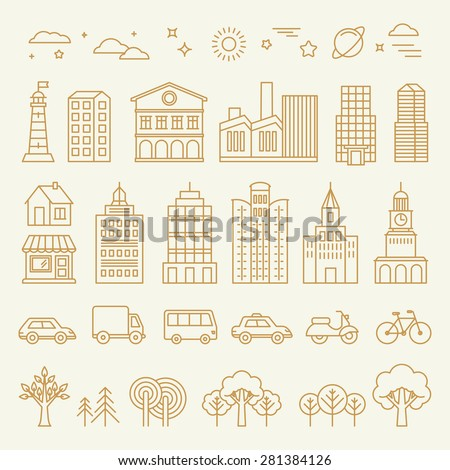 Vector collection of linear icons and illustrations with buildings, houses and architecture signs - design elements for city illustration or map