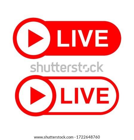 Vector collection of live streaming icons. Symbols and buttons for live streaming, broadcasting, online streaming. Templates for tv, shows, films, videos and live shows.