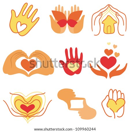 Vector collection of love signs - for charity and hand made