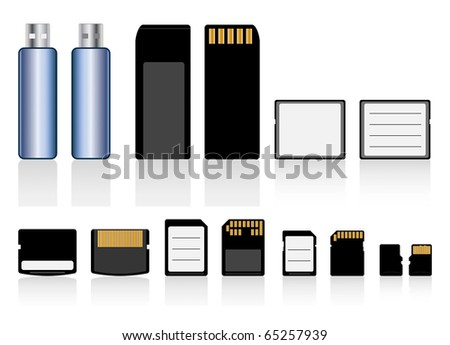 Vector collection of memory cards and usb flash drive