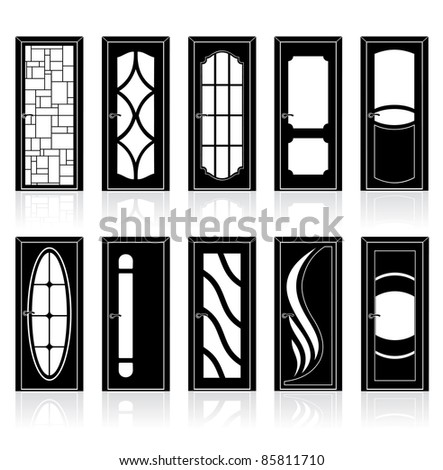 Vector Collection of modern interior and front doors with doorframe