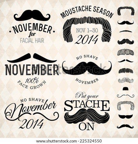 Vector collection of moustache emblems | Mustache themed retro looking insignia set on no shave november  Foto d'archivio ©
