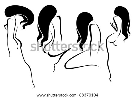 vector collection of naked girls symbols of beauty and body care