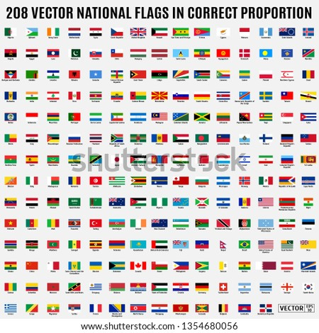 Vector collection of 208 national flags with detailed emblems of the world in correct proportion