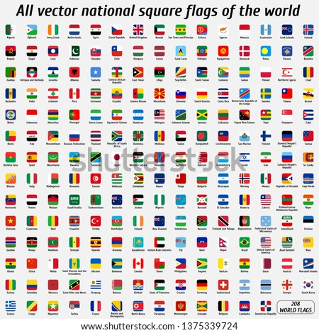 Vector collection of 208 national square flags with detailed emblems of the world