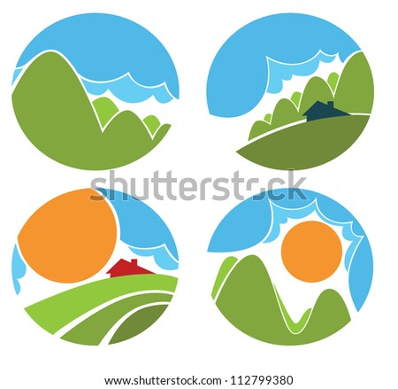 vector collection of natural landscape symbols