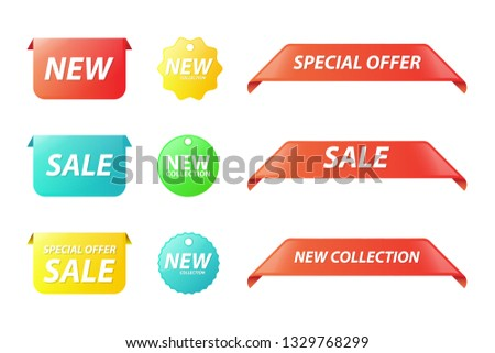 Vector collection of new collection, special offer and sale tags for webpage and advertising
