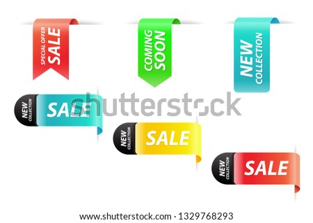 Vector collection of new collection, special offer, coming soon and sale realistic tags for webpage and advertising