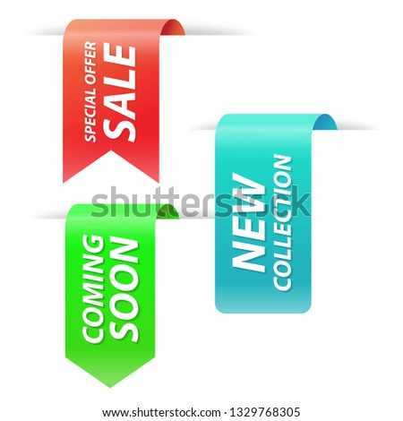 Vector collection of new collection, special offer, coming soon and sale tags for webpage and advertising