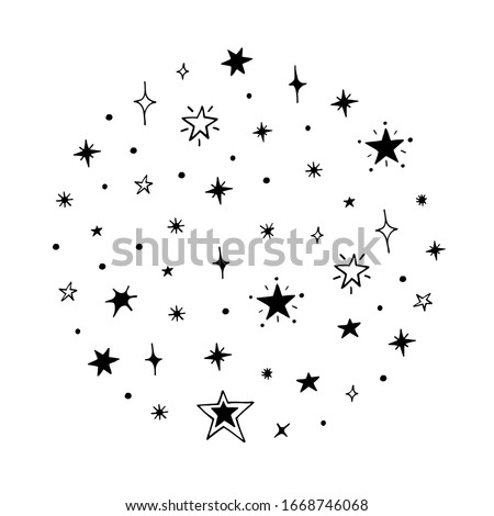 Vector collection of night sky elements. For the design of surfaces, prints, wrapping paper, cards, posters, banners, printing. Theme space, Cosmonautics Day, astronomy, stars. Celestial set