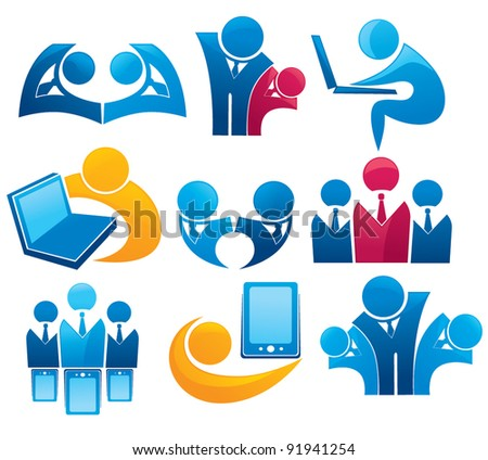 vector collection of office work and business team