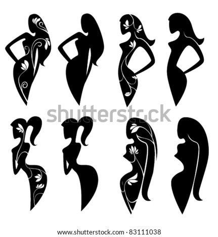 vector collection of ornamental girls silhouettes