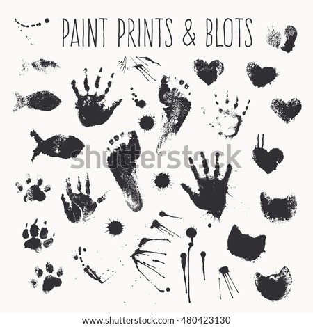 Vector collection of paint prints - footsteps, pawprints, palms, shapes of hearts, cat muzzles, fish, inkblots, stains, smears. Monochrome design elements