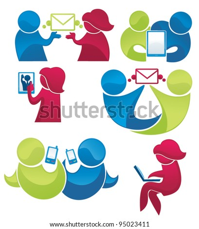 vector collection of people communication icons