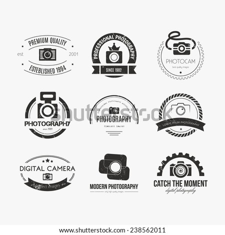 Vector collection of photography logo templates. Photocam logotypes. Photography vintage badges and icons. Modern mass media icons. Photo labels.