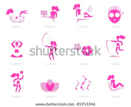 Vector collection of pink spa icons - pink and white.