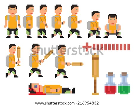 vector collection of pixel art style person
