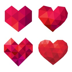 vector collection of polygonal red hearts on white background
