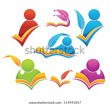 vector collection of reading and writing symbols, books and education