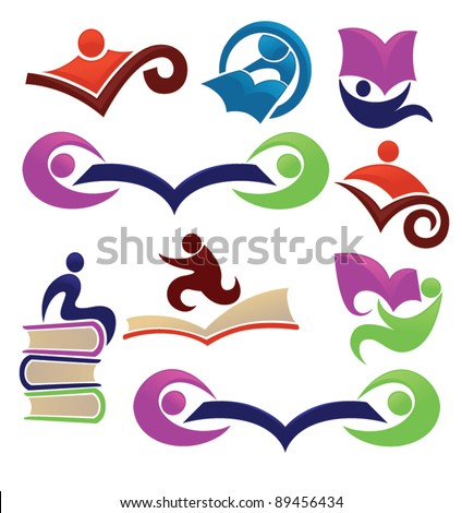 vector collection of reading symbols, books and education