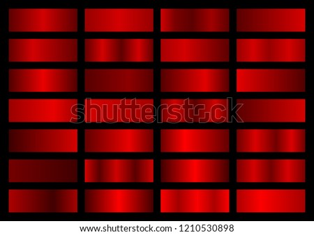 Vector collection of red metallic gradients, chrome christmas gradient set