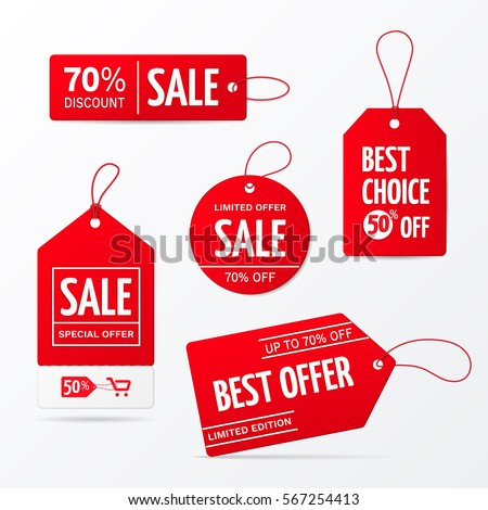 Vector collection of red sale tags with text - Limited edition, best choice, special offer. Labels for banners and posters design. Isolated from the background #567254413