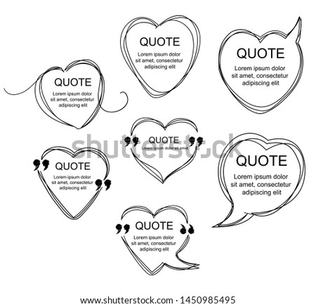 Vector collection of scribbled comic heart-shaped speech bubbles with hand drawn style. Copy space for quote. Set of template for your text. EPS8